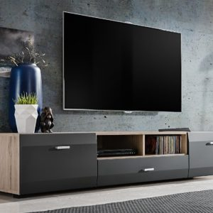 Tv Unit CLIFF 180cm - oak & graphite